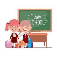 alunas com material escolar na sala de aula vetor