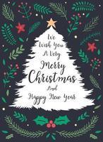 desenho de árvore de letras de natal com decorações