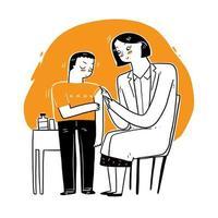 médica dando vacina ao paciente vetor