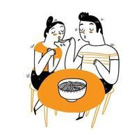 casal jantando vetor