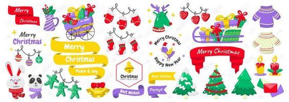 conjunto de elementos e emblemas de natal