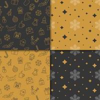 padrões de férias de inverno com cor dourada e preta vetor