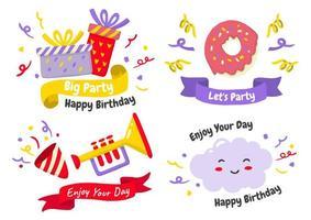 logotipos de etiqueta de festa para banner vetor