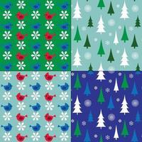 padrões de inverno com pássaros e árvores vetor