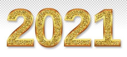 Texto com glitter dourado 2021 vetor
