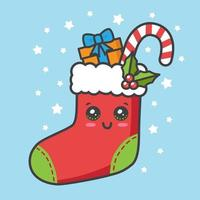 cartão de natal kawaii com meia