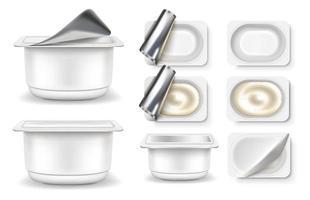 conjunto de embalagens de iogurte vetor
