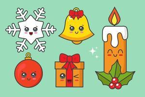 conjunto elemento kawaii natal