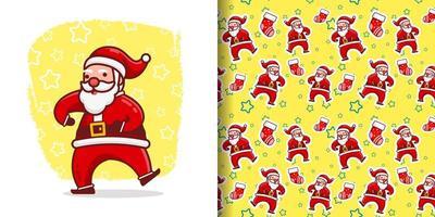 Natal fofo louco santa dança desenho animado padrão vetor