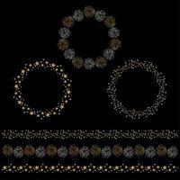 molduras de círculo de celebração de prata e ouro e padrões de borda