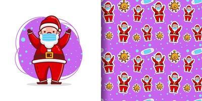Natal fofo mascarado desenho animado padrão vetor
