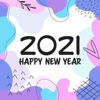 feliz ano novo 2021 design de forma abstrata vetor