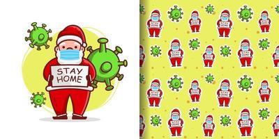 Papai Noel fofo de natal usando máscara de desenho animado vetor