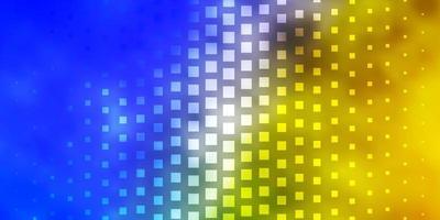 layout em azul claro e amarelo com linhas e retângulos.