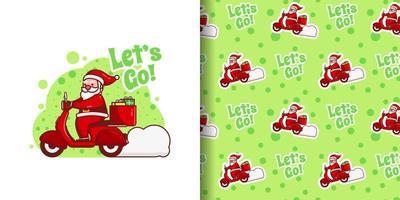 Papai Noel fofo de natal entregando presentes no padrão de desenho animado vetor