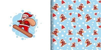 Natal Papai Noel bonito entregando presentes no padrão de desenho animado de snowboard vetor