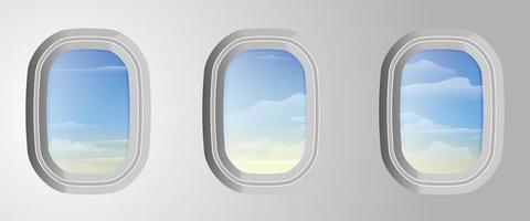 janelas de avião com céu azul nublado lá fora