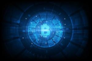 fundo futurista de alta tecnologia em bitcoin vetor