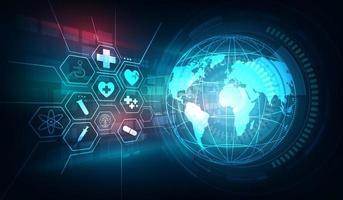 ícones médicos e globo em fundo de tecnologia