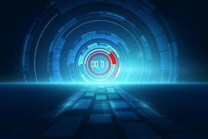 Fundo abstrato de tecnologia futurista com cronômetro digital vetor