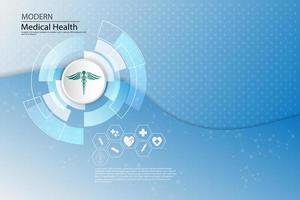 ícones médicos em abstrato de tecnologia