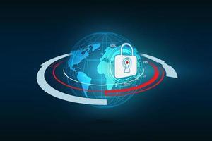 segurança de tecnologia abstrata no fundo da rede global, ilustração vetorial
