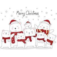 cartão de natal com ursinhos fofos vetor
