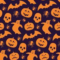 costura padrão com silhueta de abóbora, morcego, fantasma e crânio. vetor