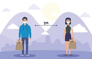 pessoas com máscaras praticando distanciamento social ao ar livre
