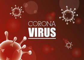 bandeira vermelha científica de coronavírus vetor
