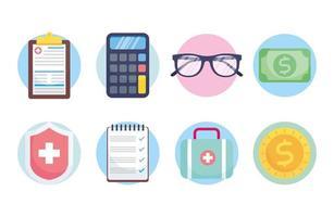 Conjunto de ícones de conceito de serviço de seguro saúde vetor