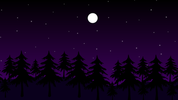 estrelas e lua na floresta escura à noite vetor