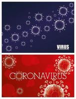 conjunto de fundo de banner científico de coronavírus