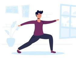 homem praticando exercícios em casa