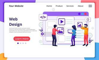 conceito de design da web, pessoas criando um design de aplicativo da web