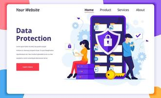 conceito de proteção de dados, pessoas protegendo dados em um smartphone