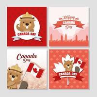 conjunto de banner de celebração do feliz dia do Canadá vetor