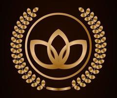 moldura de coroa circular dourada 3d abstrata vetor