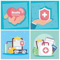 Conjunto de banner de conceito de serviço de seguro saúde vetor