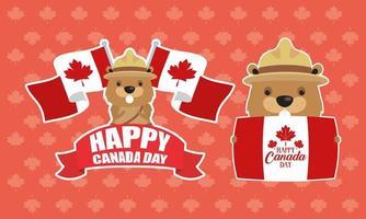feliz celebração do dia do Canadá com ícones fofos de castores vetor