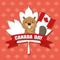 banner de celebração do feliz dia do Canadá com castor vetor