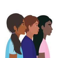 diversidade de peles de mulheres e homens negros indianos vetor