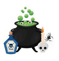 desenho de veneno de caveira de halloween e tigela de bruxa vetor