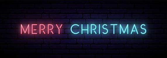 sinal de néon de feliz Natal. banner de luz horizontal longo.