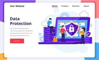 conceito de proteção de dados, pessoas protegendo dados em um laptop