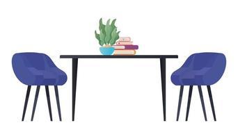 mesa com planta de cadeiras e design de livros vetor