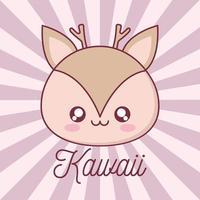 desenho animado animal de rena kawaii vetor