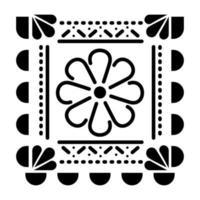 ícone de flor mexicana em quadrado sobre fundo branco