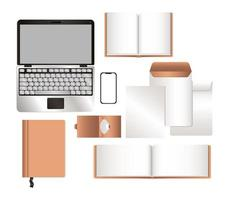 maquete laptop smartphone e cenografia de identidade corporativa vetor