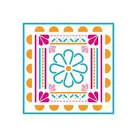 ícone mexicano de uma flor com cores